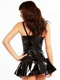 Lak biker jurkje zwart met roze_
