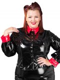 Zwart rode lak blouse_