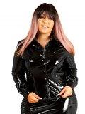 Plus size zwarte lak blouse