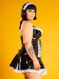 Plus size dienstmeisje lak jurken