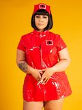 Plus size Rood lak verpleegster jurk
