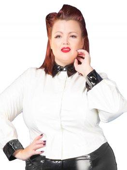 Plus size witte lak blouse