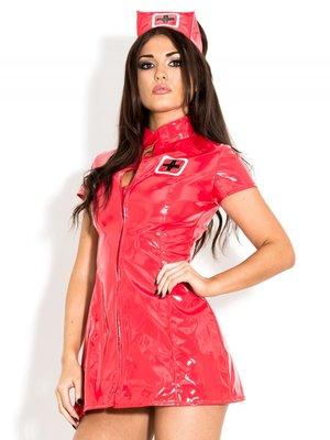 Rood lak verpleegster jurkje