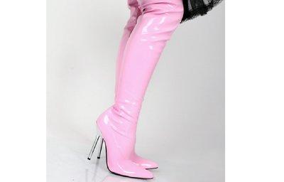 Roze overknee laklaars