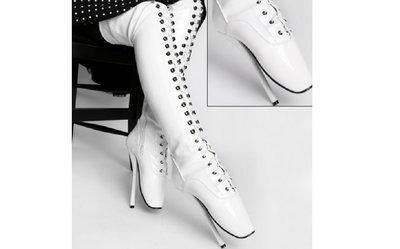 Witte ballet overknee lak laars