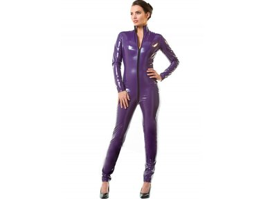 Paarse lak catsuit