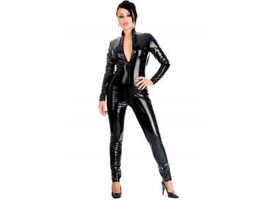 Zwarte lak catsuit