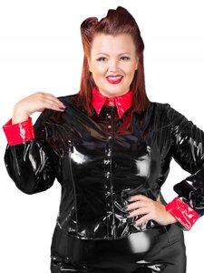 Plus size zwart met rood lak blouse