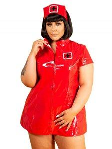 Rood lak verpleegster jurk plus size