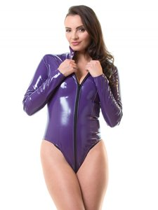 Plus size paarse lak bodystocking