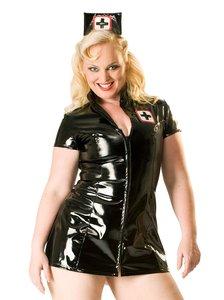 zwart lak verpleegster jurk plus size