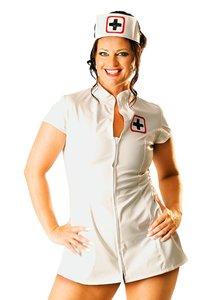 Wit lak verpleegster jurk plus size